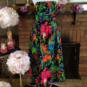 A.J. BARI VINTAGE TROPICAL PRINT DRESS (4)